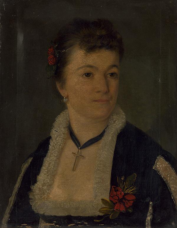 Stredoeurópsky maliar z 2. polovice 19. storočia – Portrét dámy s ružami vo vlasoch