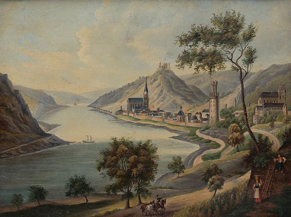 Flóris Ferenc Romer - Pohľad na Oberwesel pri Rýne