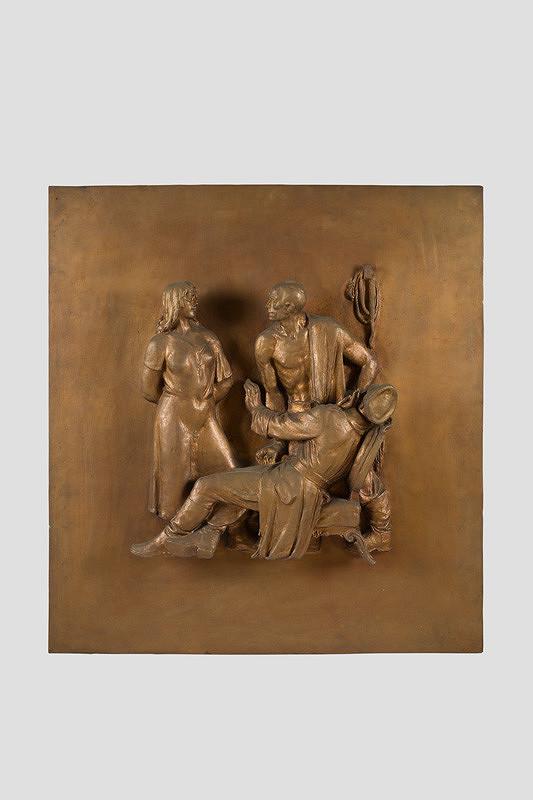Rudolf Pribiš – Výsluch - reliéf z vonkajších dverí na Slavíne