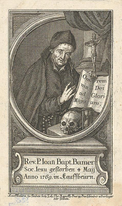 Nemecký grafik z 18. storočia – Portrét P.Johana Baptistu Bamera