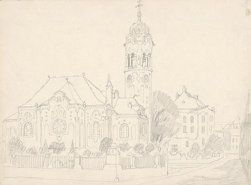 Karol Frech - Modrý kostolík v Bratislave - pohľad z juhu, okolo 1921, Galéria mesta Bratislavy