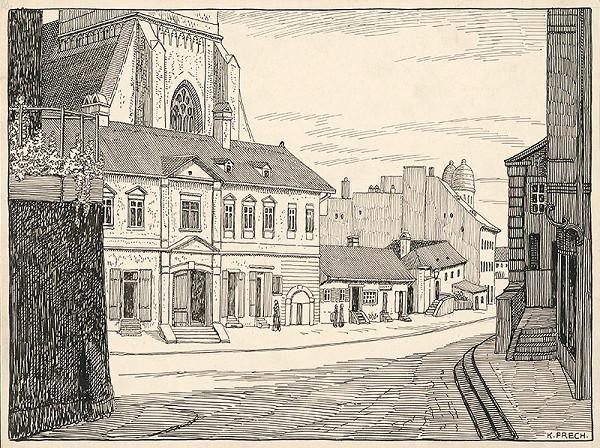 Karol Frech – Časť židovskej ulice v Bratislave, Domy pred chrámom sv. Martina