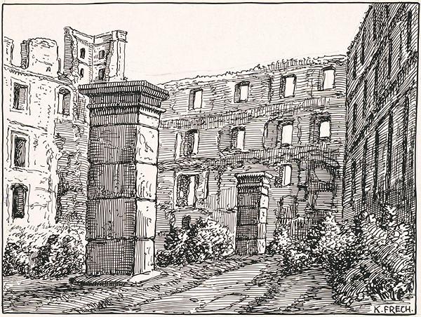 Karol Frech – Nádvorie hradného paláca a severozápadná veža Bratislavského hradu