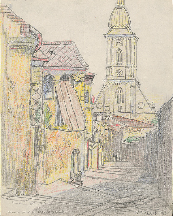 Karol Frech - Pohľad na Dóm sv.Martina v Bratislave zo zámockých schodov