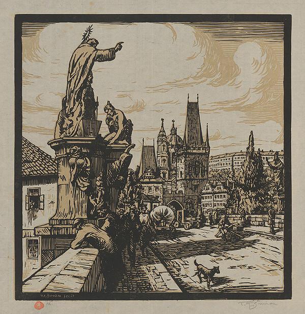 František Tavík Šimon – Pohľad na Karlov most v Prahe