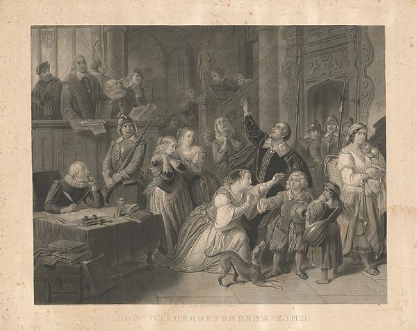Nemecký grafik z 19. storočia – Nájdené dieťa