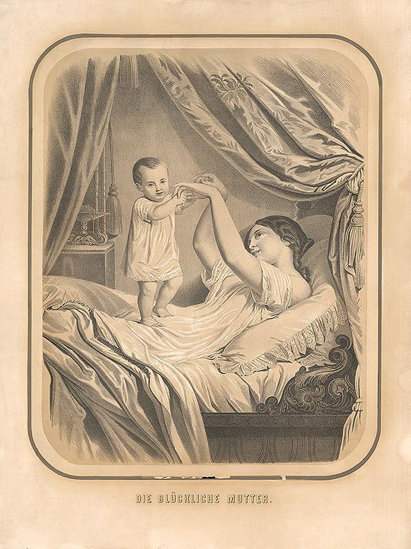 Rakúsky grafik z 19. storočia – Šťastná matka