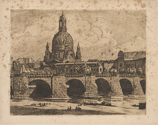 Stredoeurópsky grafik z prelomu 19. - 20. storočia – Časť mesta s mostom