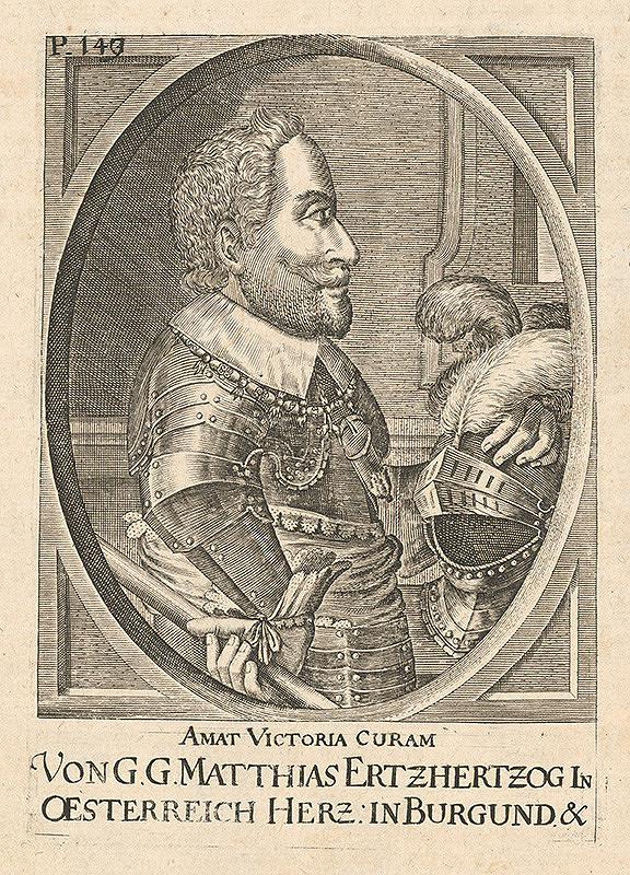 Nemecký grafik zo 17. storočia - Portrét Matiasa Ertzhertzoga