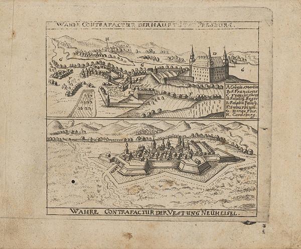 Stredoeurópsky grafik z 2. polovice 17. storočia - Pohľad na Bratislavu a Nové Zámky