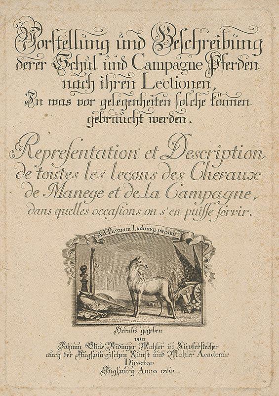 Johann Elias Ridinger – Titulná strana ukážkovej knihy koní