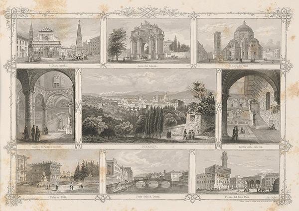 Stredoeurópsky grafik z 19. storočia - Významné budovy vo Florencii