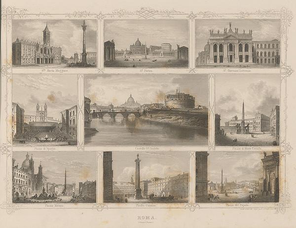 Stredoeurópsky grafik z 19. storočia - Významné budovy v Ríme