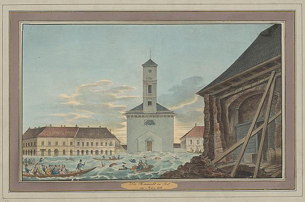 Stredoeurópsky grafik z 19. storočia - Povodeň v Budapešti