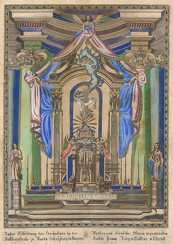 Stredoeurópsky grafik z 18. storočia – Hlavný oltár so Sedembolestnou Pannou Máriou  v bazilike Sedembolestnej Panny Márie v Šaštíne