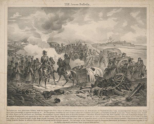 Stredoeurópsky grafik z 19. storočia - Bojová scéna z r.1848