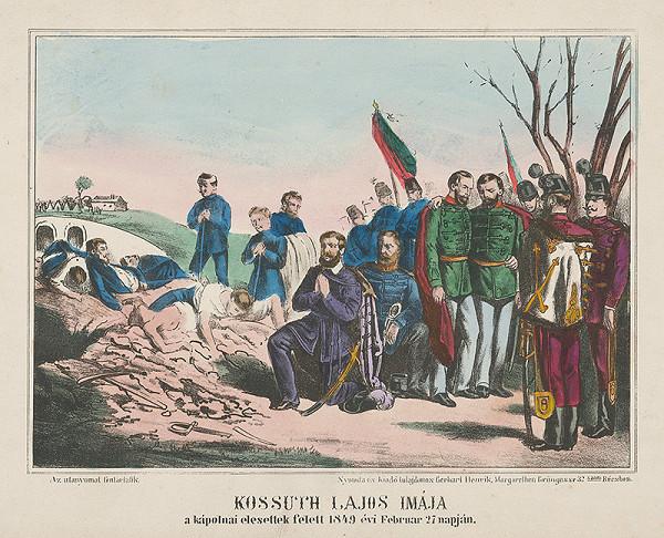 Stredoeurópsky grafik z 19. storočia - Motlitba Lajosa Kossutha
