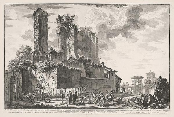 Giovanni Battista Piranesi - Pohľad na mesto pred kastellom časti Aqua Julia v Ríme