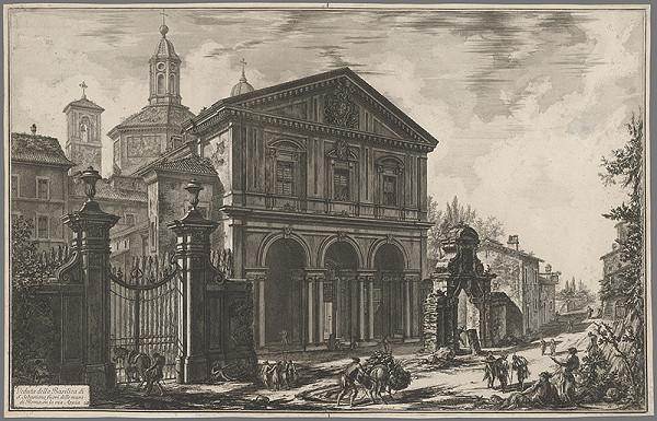 Francesco Piranesi - Bazilika San Sebastiano na Via Appia v Ríme