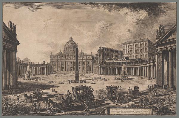 Giovanni Battista Piranesi - Pohľad na námestie a baziliku sv. Petra v Ríme