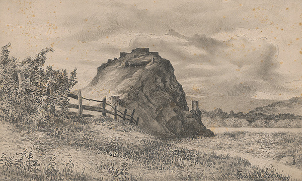 Gejza Bošácky - Pohľad na zrúcaniny hradu Devín