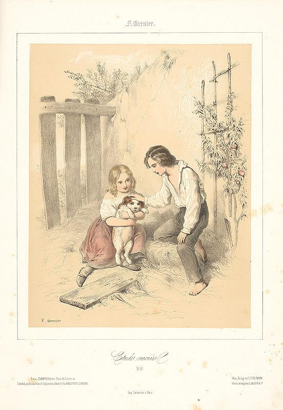 Francois Grenier - Chlapec a dievčatko so psíčkom