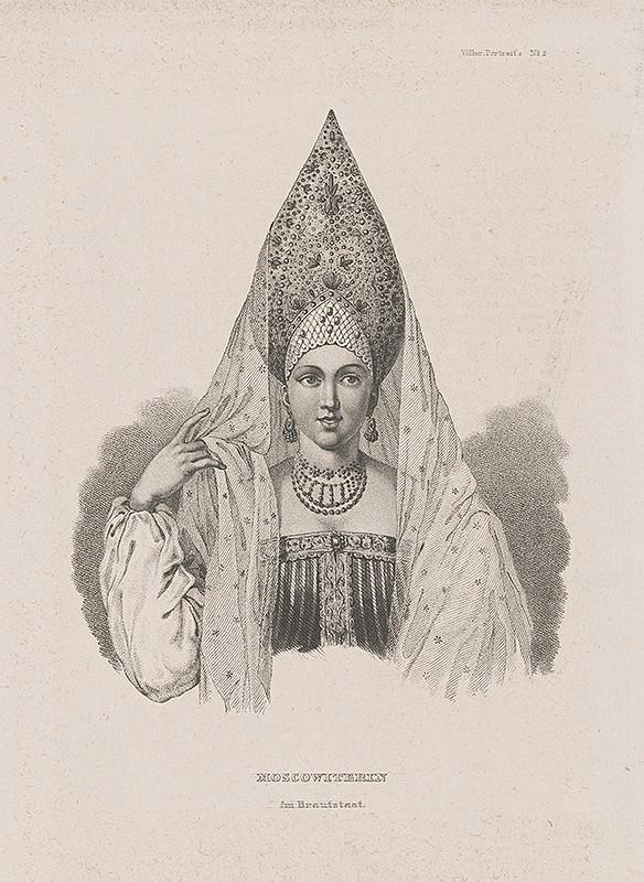 Stredoeurópsky maliar z 19. storočia - Moskovčanka v svadobnom odeve