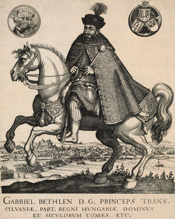 Aegidius Sadeler II., Matthäus Merian st. – Jazdecký portrét Gabriela Bethlena pri Bratislave
