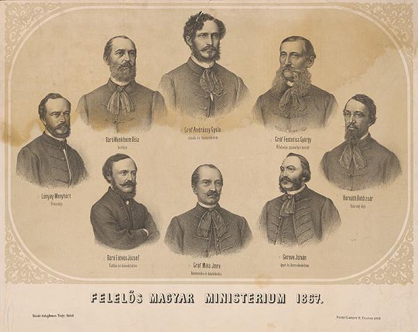 Maďarský grafik z 19. storočia - Portréty maďarských ministrov