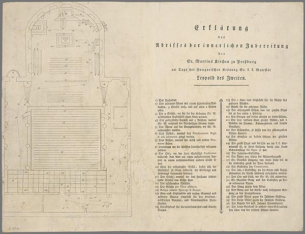 Stredoeurópsky grafik z 18. storočia - Vysvetlenie k vnútornému zariadeniu Dómu sv. Martina v deň korunovania Leopolda II.