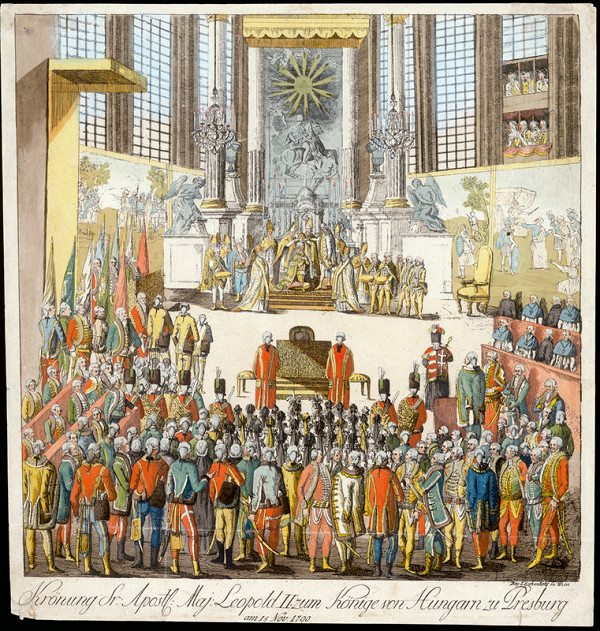 Stredoeurópsky grafik z 18. storočia – Korunovácia Leopolda II. v Bratislave