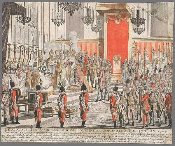 Stredoeurópsky grafik z 18. storočia – Korunovácia Leopolda II.