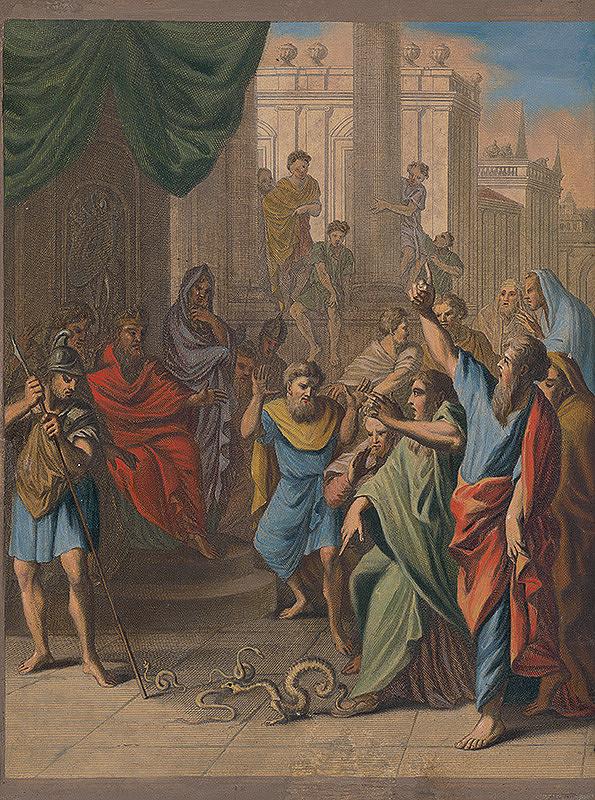 Caspar Luyken, Christoph Weigel st. – Mojžiš premieňa palicu na hada
