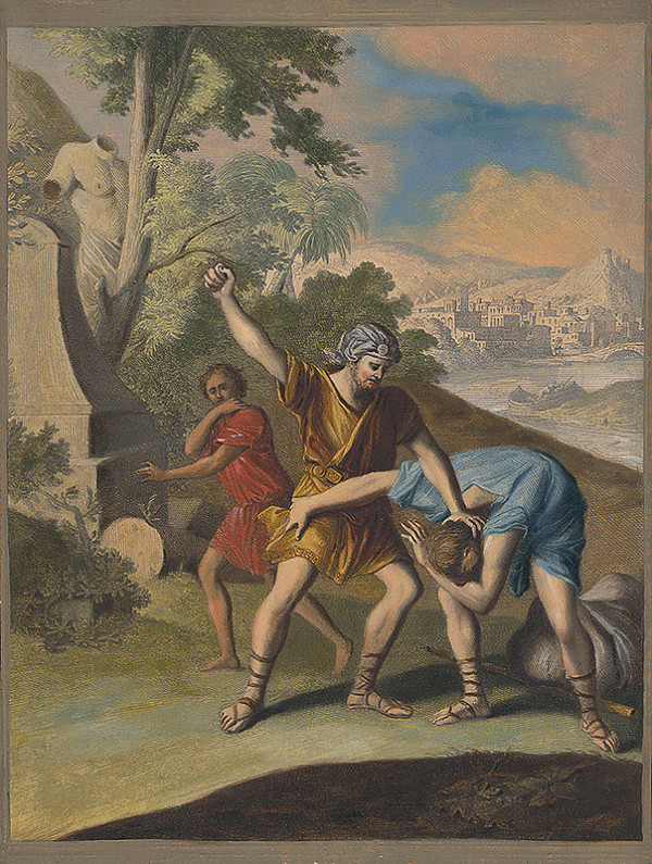 Caspar Luyken, Christoph Weigel st. - Mojžiš zabíja Egypťana