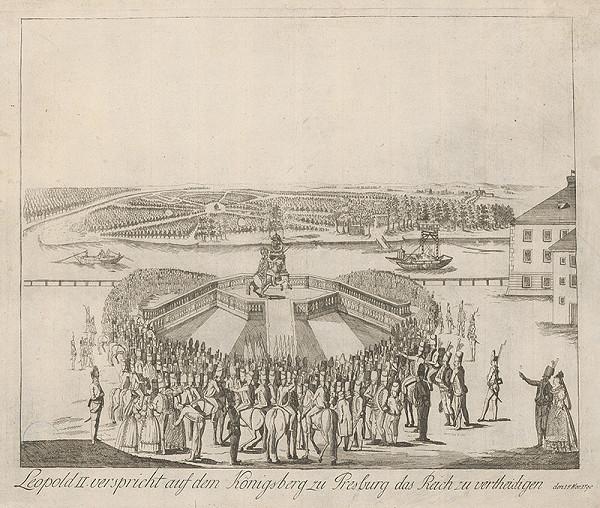 Stredoeurópsky grafik z 18. storočia - Prísaha Leopolda II. na korunovačnom vŕšku v Bratislave