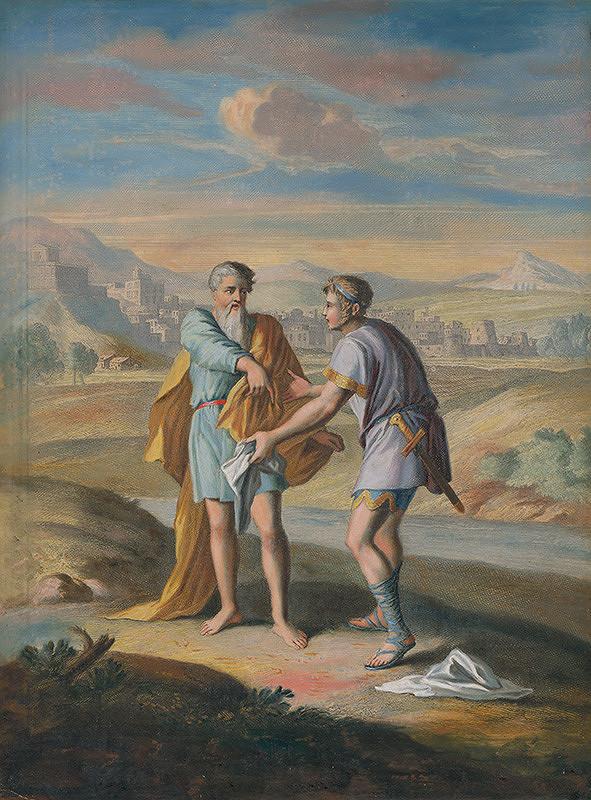 Caspar Luyken, Christoph Weigel st. – Prorok Ahiáš, Silan trhá svoj nový plášť na dvanásť kusov pred Jeroboamom