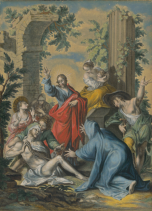 Abraham Bloemaert, Holandský rytec - Vzkriesenie Lazára