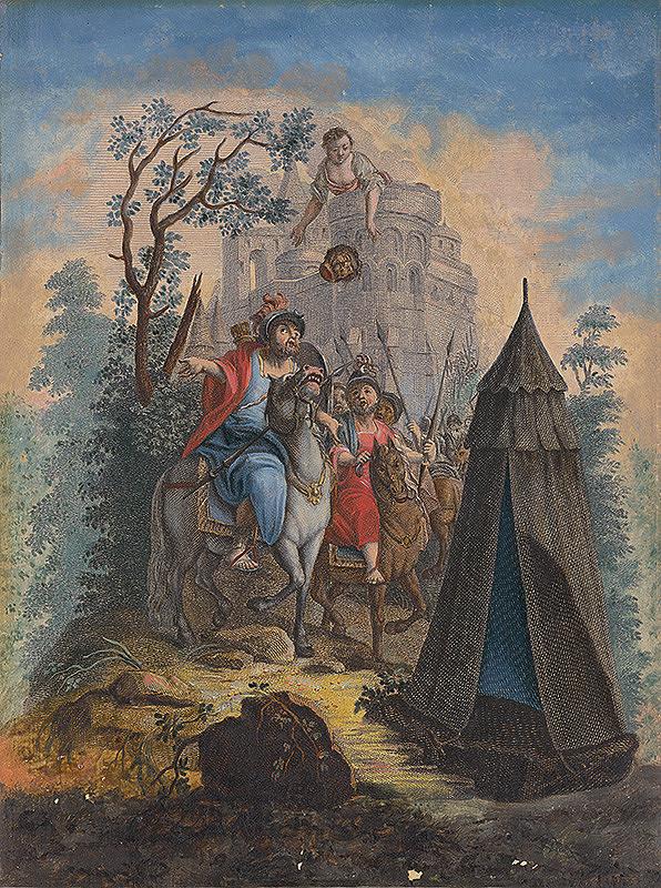 Stredoeurópsky maliar zo 17. storočia – Judita hádže hlavu Holoferna do tábora nepriateľa