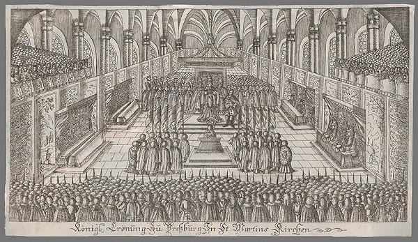 Stredoeurópsky grafik z 18. storočia - Korunovácia Alžbety Kristíny v Dóme sv. Martina