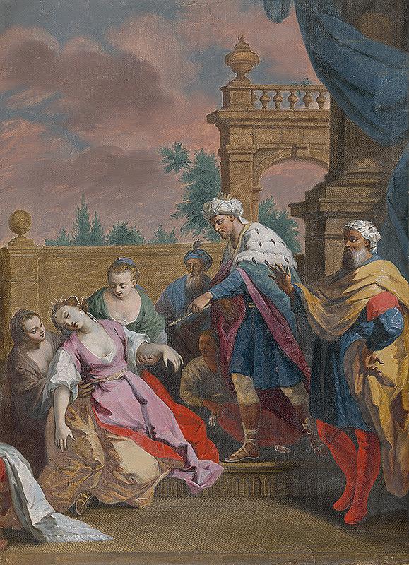 Jacopo Amigoni, Francesco Bartolozzi, Joseph Wagner - Ester omdlieva pred Ahasverom