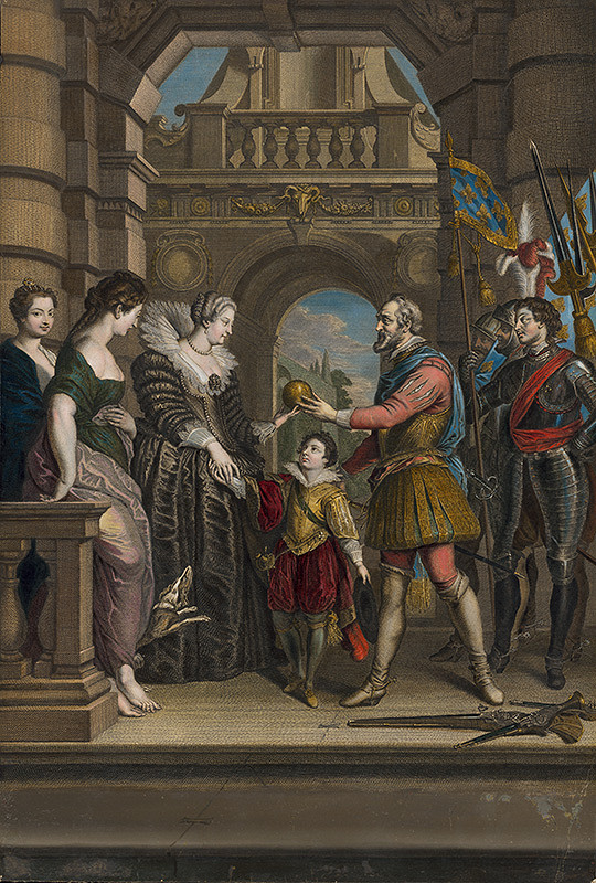 Jean Audran, Peter Paul Rubens, Jean Baptiste Nattier – Henrich IV. zveruje vládu Márii de Medici pri odchode na vojenskú výpravu do Nemecka