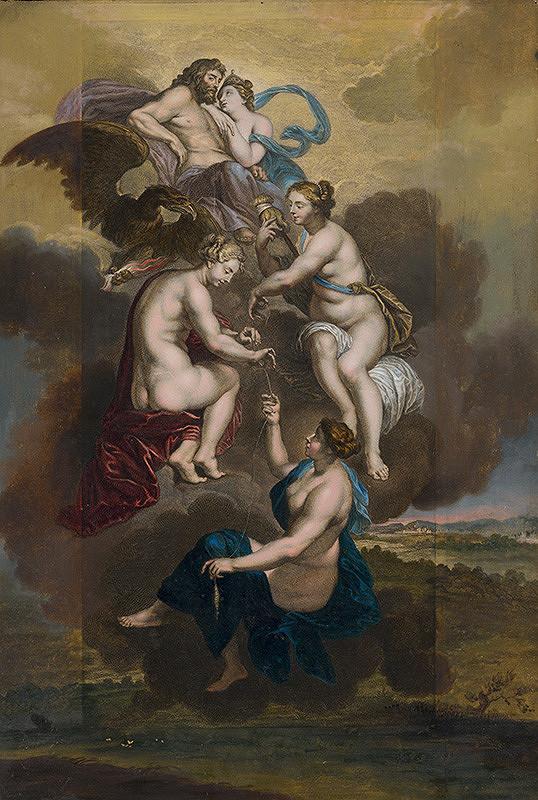 Peter Paul Rubens, Jean Baptiste Nattier, Louis de Châtillon – Tir sudičky spriadajú osud Márie de Medici pod ochranou Jupitera a Juno