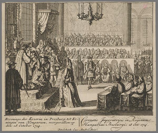 Pieter Schenck – Korunovanie Alžbety Kristíny v Bratislave