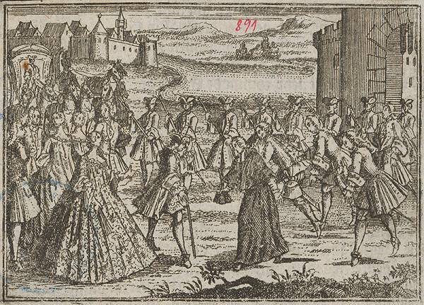 Stredoeurópsky grafik z 18. storočia - Vítanie cisára Františka I. Lotrinského a Márie Terézie v Bratislave