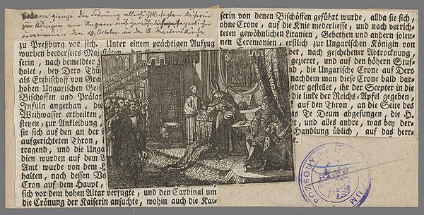 Stredoeurópsky grafik z 18. storočia – Korunovanie cisárovnej Alžbety Kristíny