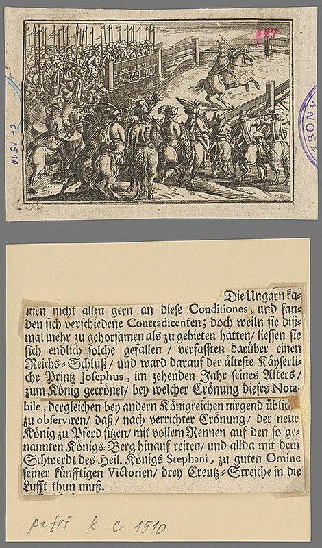 Stredoeurópsky grafik zo 17. storočia – Jozef I. na korunovačnom vŕšku