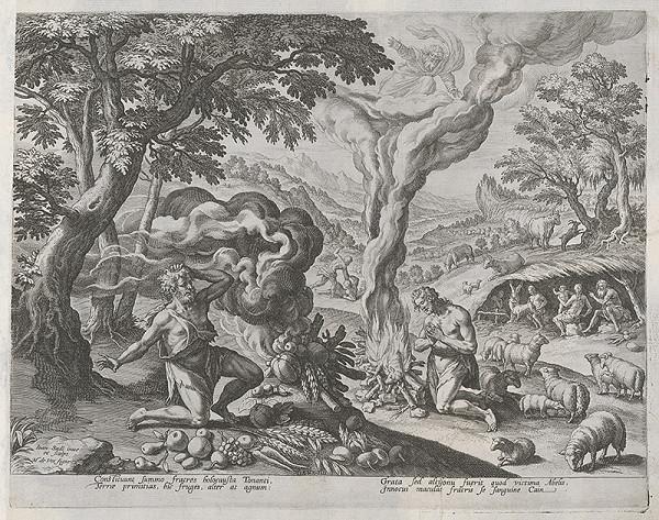 Maarten de Vos st., Jan Sadeler I. - Obety Kaina a Ábela (6)