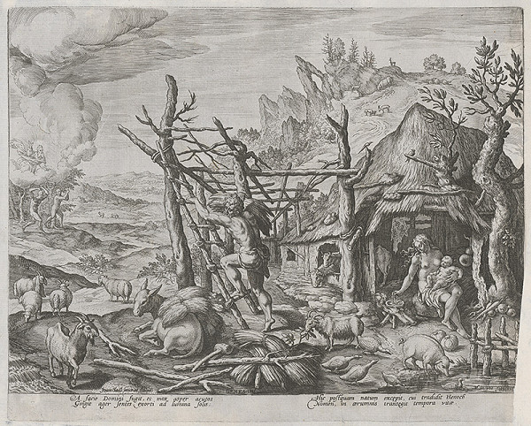 Maarten de Vos st., Jan Sadeler I. – Kain, jeho žena a syn Henoch (7)