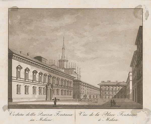 Taliansky maliar z prelomu 18. - 19. storočia – Námestie Fontaine v Miláne