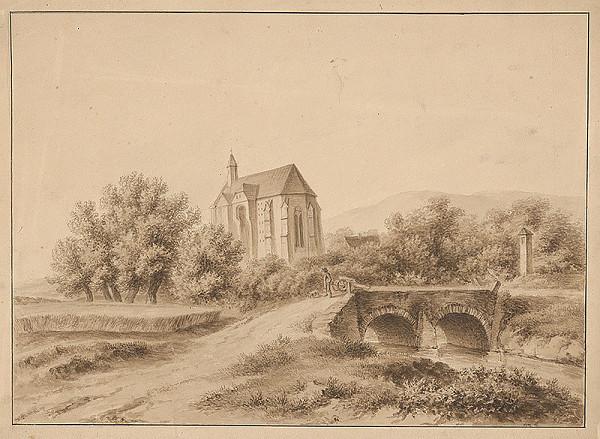 Stredoeurópsky grafik z 2. polovice 19. storočia – Krajina s kostolom